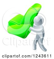 Clipart Of A 3d Silver Man Carrying A Green Check Mark Royalty Free Vector Illustration