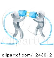 Clipart Of A Team Of 3d Silver Men Connecting Electrical Plugs Royalty Free Vector Illustration by AtStockIllustration