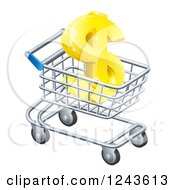 Clipart Of A 3d Golden Dollar Symbol In A Shopping Cart Royalty Free Vector Illustration