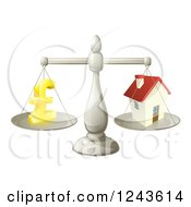 Clipart Of A 3d Scale Comparing A Pond Currency Symbol And A House Royalty Free Vector Illustration