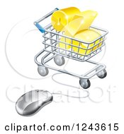 Clipart Of A 3d Golden Percent Discount Symbol In A Shopping Cart Wired To A Computer Mouse Royalty Free Vector Illustration