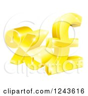 Clipart Of 3d Gold Percent And Pound Sterling Currency Symbols Royalty Free Vector Illustration