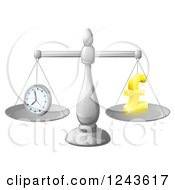 Clipart Of A 3d Scale With Balanced Time And Money Pound Symbol Royalty Free Vector Illustration by AtStockIllustration