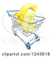 Clipart Of A 3d Golden Euro Currency Symbol In A Shopping Cart Royalty Free Vector Illustration by AtStockIllustration