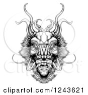 Clipart Of A Black And White Woodcut Monster Dragon Head Royalty Free Vector Illustration by AtStockIllustration