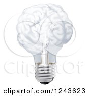 Clipart Of A 3d Brain Shaped Light Bulb Royalty Free Vector Illustration