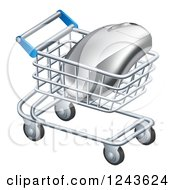 Clipart Of A 3d Computer Mouse In A Shopping Cart Royalty Free Vector Illustration