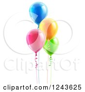 Clipart Of 3d Colorful Floating Party Balloons With Ribbons Royalty Free Vector Illustration