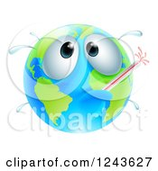 Clipart Of A Sick Globe With A Fever And Thermometer Royalty Free Vector Illustration
