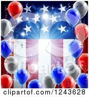 Clipart Of A Bright Burst And 3d Party Balloons Over An American Flag Royalty Free Vector Illustration