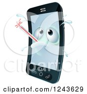 Clipart Of A 3d Sweaty Cell Phone Character Sick With A Fever And Thermometer Royalty Free Vector Illustration by AtStockIllustration