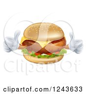 Happy Cheeseburger Character Holding Two Thumbs Up