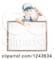 Happy Brunette Male House Painter Holding A Brush And Pointing Down To A White Board Sign