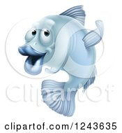 Clipart Of A Blue Fish Gesturing Which Way To Go Royalty Free Vector Illustration by AtStockIllustration