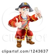 Clipart Of A Happy Male Pirate Captain Holding A Thumb Up And Treasure Map Royalty Free Vector Illustration by AtStockIllustration