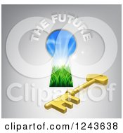 Clipart Of A Key Hole Door With Sunshine And Grass A Skeleton Key And THE FUTURE Text Royalty Free Vector Illustration