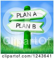 Clipart Of Directional Plan A And B Signs Over A Sunrise And Grassy Hill Royalty Free Vector Illustration