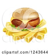 Clipart Of A 3d Cheeseburger And French Fries Royalty Free Vector Illustration by AtStockIllustration