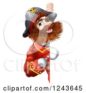 Clipart Of A Pirate Captain With A Hook Hand Looking Around A Sign Royalty Free Vector Illustration