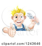 Happy Blond Mechanic Man Holding A Spanner Wrench And Thumb Up Over A Sign