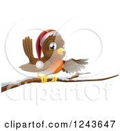 Clipart Of A Christmas Robin Presenting On A Snow Covered Branch Royalty Free Vector Illustration by AtStockIllustration