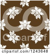 Clipart Of A Seamless Background Pattern Of Brown Damask Floral 3 Royalty Free Vector Illustration