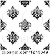 Clipart Of A Seamless Background Pattern Of Black And White Damask Floral Royalty Free Vector Illustration