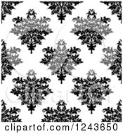 Clipart Of A Seamless Background Pattern Of Black And White Damask Floral 2 Royalty Free Vector Illustration