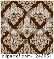 Clipart Of A Seamless Background Pattern Of Brown Damask Floral Royalty Free Vector Illustration