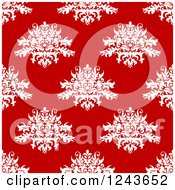 Clipart Of A Seamless Background Pattern Of Red And White Damask Floral Royalty Free Vector Illustration