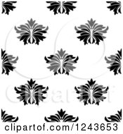 Clipart Of A Seamless Background Pattern Of Black And White Damask Floral 3 Royalty Free Vector Illustration