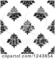 Clipart Of A Seamless Background Pattern Of Black And White Damask Floral 4 Royalty Free Vector Illustration