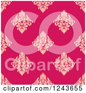 Clipart Of A Seamless Background Pattern Of Pink And Tan Damask Floral Royalty Free Vector Illustration by Vector Tradition SM