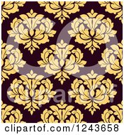 Clipart Of A Seamless Background Pattern Of Yellow And Brown Damask Floral Royalty Free Vector Illustration