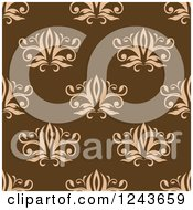 Clipart Of A Seamless Background Pattern Of Brown Damask Floral 2 Royalty Free Vector Illustration