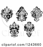 Clipart Of Black And White Arabesque Damask Designs 3 Royalty Free Vector Illustration