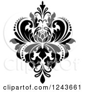 Clipart Of A Black And White Arabesque Damask Design 21 Royalty Free Vector Illustration