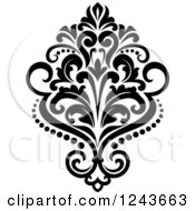 Clipart Of A Black And White Arabesque Damask Design 23 Royalty Free Vector Illustration