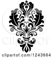 Clipart Of A Black And White Arabesque Damask Design 25 Royalty Free Vector Illustration