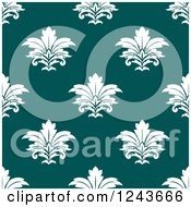 Clipart Of A Seamless Background Pattern Of White And Teal Damask Floral Royalty Free Vector Illustration