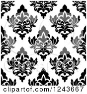 Clipart Of A Seamless Background Pattern Of Black And White Damask Floral 6 Royalty Free Vector Illustration
