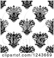 Clipart Of A Seamless Background Pattern Of Black And White Damask Floral 7 Royalty Free Vector Illustration