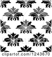 Clipart Of A Seamless Background Pattern Of Black And White Damask Floral 8 Royalty Free Vector Illustration