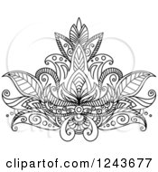 Clipart Of A Black And White Henna Lotus Flower 14 Royalty Free Vector Illustration