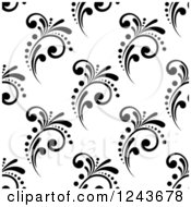 Clipart Of A Seamless Background Pattern Of Black And White Flourishes Royalty Free Vector Illustration