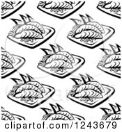 Clipart Of A Black And White Oriental Seafood Background Pattern Royalty Free Vector Illustration