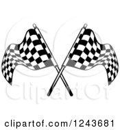 Clipart Of Crossed Black And White Checkered Racing Flags Royalty Free Vector Illustration
