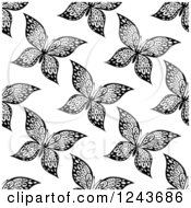 Clipart Of A Seamless Black And White Butterfly Background Pattern 5 Royalty Free Vector Illustration