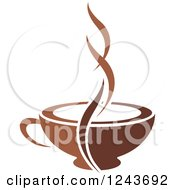 Clipart Of A Steam Splitting A Tan And Brown Coffee Cup Royalty Free Vector Illustration