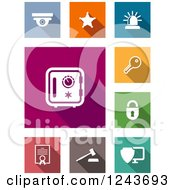 Clipart Of Colorful Square Security Icons Royalty Free Vector Illustration